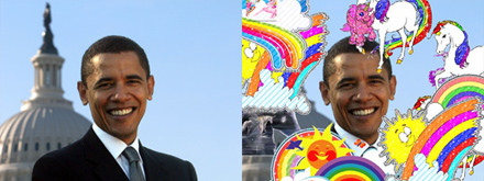 Barack Obama full of Unicorns and Rainbows