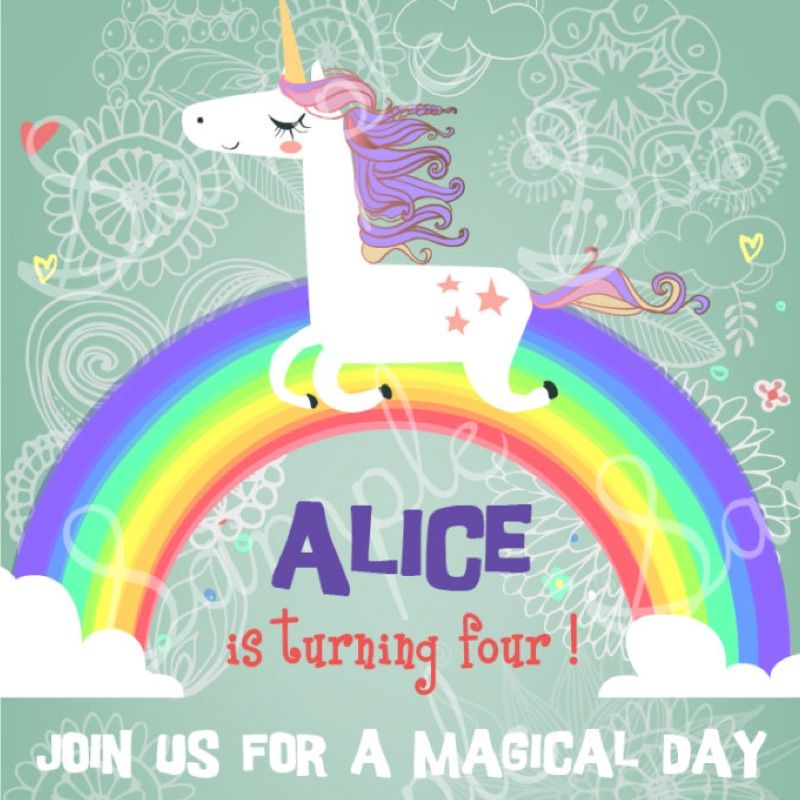 Unicorn birthday invites
