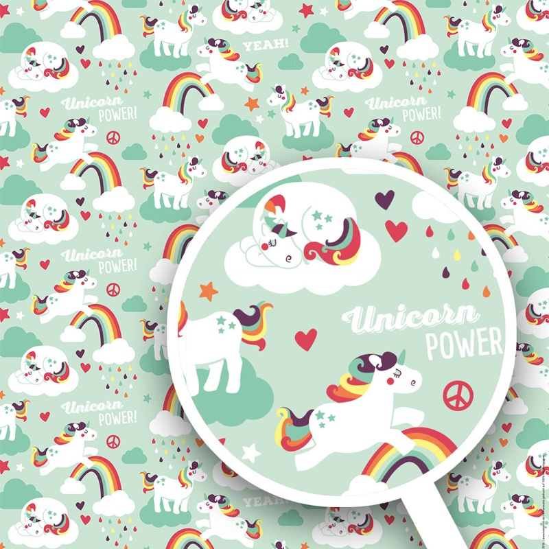 Unicorn power gift wrap set