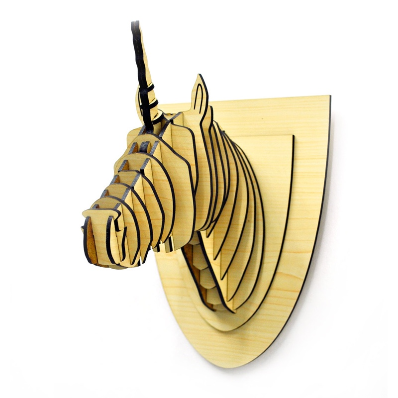 Unicorn wood trophy