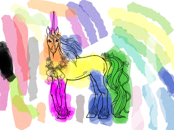 Cornify unicorn and rainbow happiness