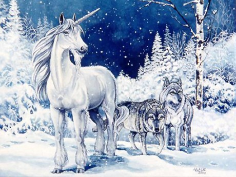 Unicorn and Two Wolves