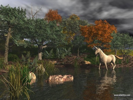 Unicorn wading in a River