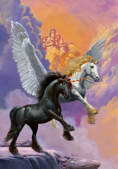White Pegasus and  Black Unicorn