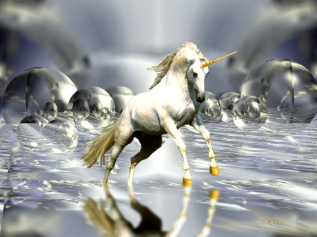 Unicorn running in Glass Bubble Land