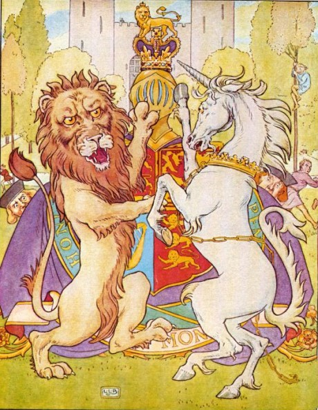 Lion and Unicorn battling over the Crown