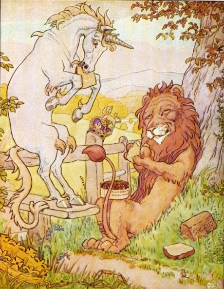 Unicorn and Lion having a Picnic