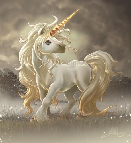 Cute Unicorn in the Sparkly Gardens