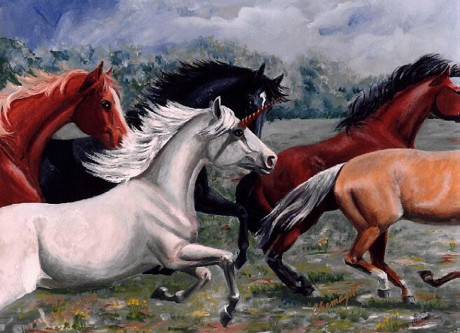 Unicorn running with Horses