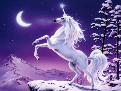 Unicorn howling at the Moon