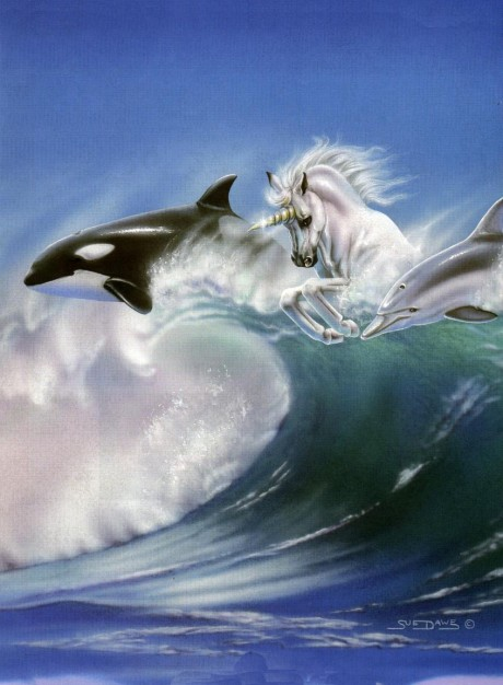 Unicorn surfing with Dolphin and Whale